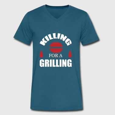 For a Grilling - Men's V-Neck T-Shirt by Canvas