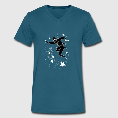 Art & Design Space Awesome Cute Funny Space Ninja Design Art - Men's V-Neck T-Shirt by Canvas