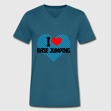 09 i heart basejumping gift - Men's V-Neck T-Shirt by Canvas