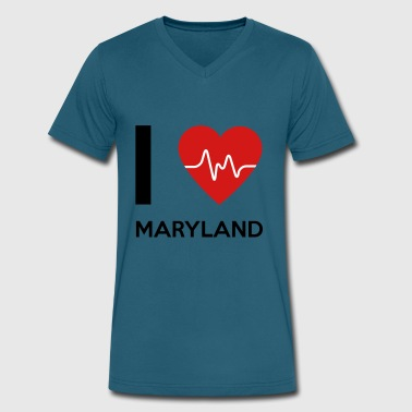 I Love Maryland I Love Maryland - Men's V-Neck T-Shirt by Canvas