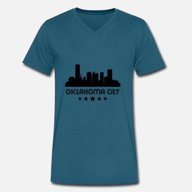 Retro City Retro Oklahoma City Skyline - Men's V-Neck T-Shirt by Canvas