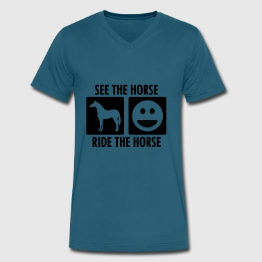 See the Horse Ride the Horse - Men's V-Neck T-Shirt by Canvas