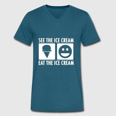 See the Ice Cream Eat the Ice Cream in White - Men's V-Neck T-Shirt by Canvas