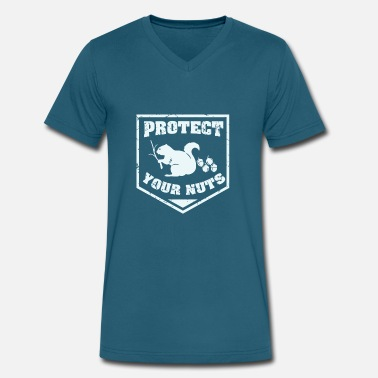 Protect protect your nuts t-shirt - Men's V-Neck T-Shirt by Canvas