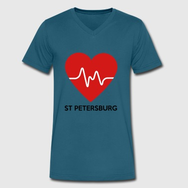 St. Petersburg Russia Heart St Petersburg - Men's V-Neck T-Shirt by Canvas