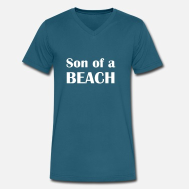 Son Of A Beach Funny Sarcastic Son of A Beach Graphic - Men's V-Neck T-Shirt by Canvas