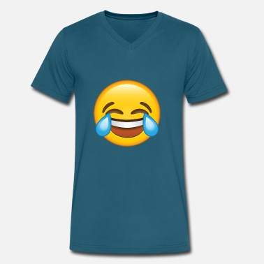 Moji Crying Laughing E-moji Shirt - Funny E-moji gifts - Men's V-Neck T-Shirt by Canvas