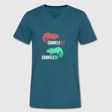 Funny And Cute Pet Chameleon Lizard - Men's V-Neck T-Shirt by Canvas