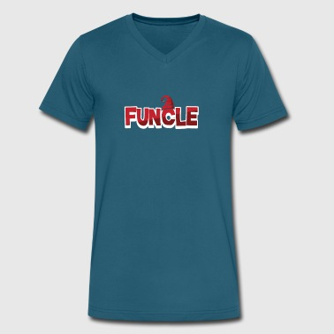 Redhat Christmas Funcle Funny Red Hat Fun Uncle Holiday - Men's V-Neck T-Shirt by Canvas