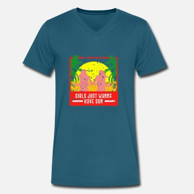 Summer Saying Summer Saying - Men's V-Neck T-Shirt by Canvas