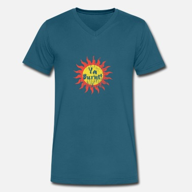 Sun Bathing Summer Sunburn Ya Burnt! Funny Beach Sun Bathing - Men's V-Neck T-Shirt by Canvas