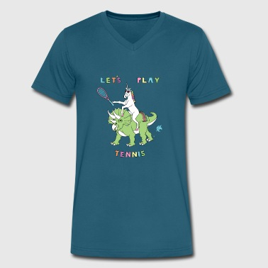 Lets Play Tennis Let's Play Tennis Unicorn Riding Dinosaur - Men's V-Neck T-Shirt by Canvas