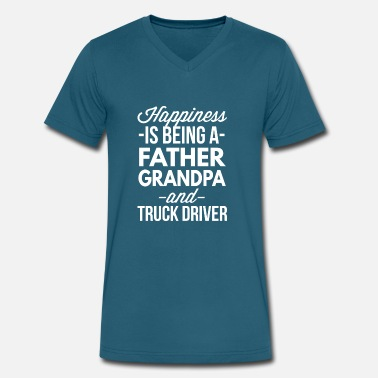 Father Truck Driver Father Grandpa and Truck Driver - Men's V-Neck T-Shirt by Canvas