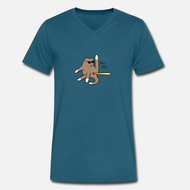 Laser Cat Butt Laser funny tshirt - Men's V-Neck T-Shirt by Canvas