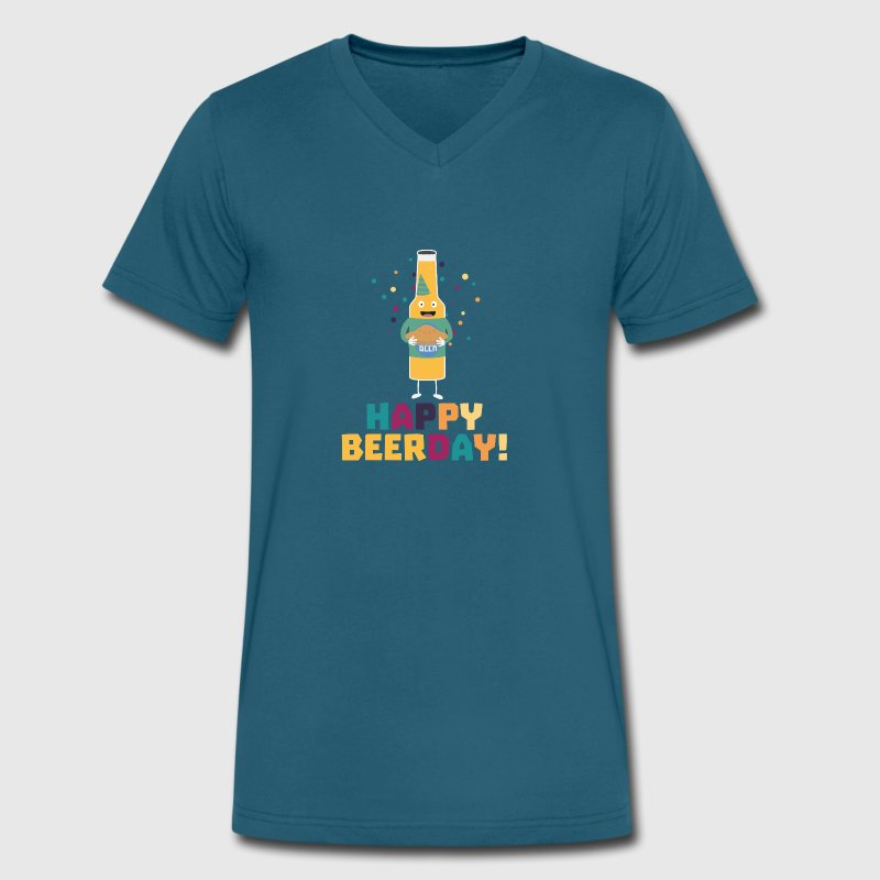 Happy Beerday Beerbottle Shnp3 - Men's V-Neck T-Shirt by Canvas