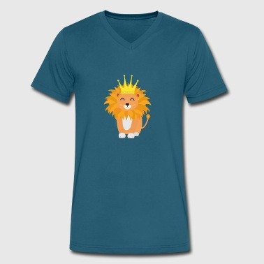 Lion with Crown King Sh832 - Men's V-Neck T-Shirt by Canvas