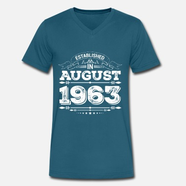 August 1963 55 Established in August 1963 - Men's V-Neck T-Shirt by Canvas