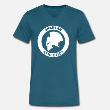 Athlete Cartoon Spartan Athletics - Men's V-Neck T-Shirt by Canvas
