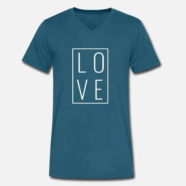 Letter Boxing Love - Box Stacked (White Letters) - Men's V-Neck T-Shirt by Canvas