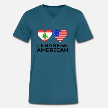 Lebanese American Lebanese American Hearts - Men's V-Neck T-Shirt by Canvas