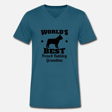 French Bulldog Grandma World's Best French Bulldog Grandma - Men's V-Neck T-Shirt by Canvas