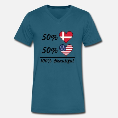 Danish American 50% Danish 50% American 100% Beautiful - Men's V-Neck T-Shirt