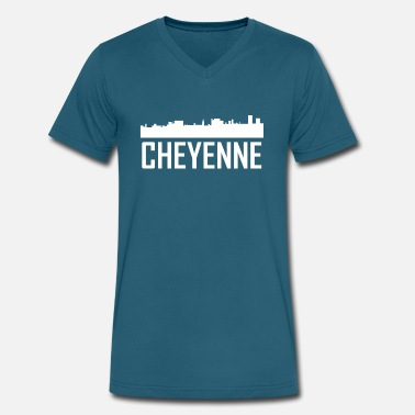 Cheyenne Wy Cheyenne Wyoming City Skyline - Men's V-Neck T-Shirt by Canvas