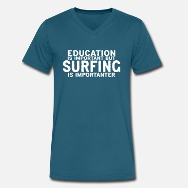 Japanese Surf Education is important but Surfing is importanter - Men's V-Neck T-Shirt by Canvas
