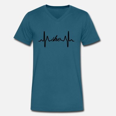 She ECG Heartbeat - Men's V-Neck T-Shirt by Canvas