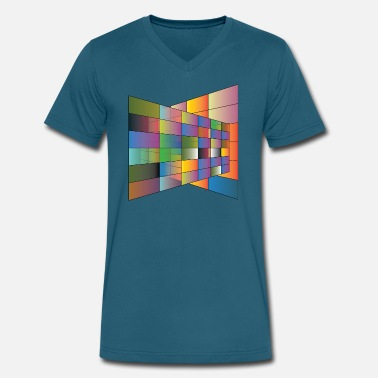 Multi Colored Multi Color plane with lines - Men's V-Neck T-Shirt