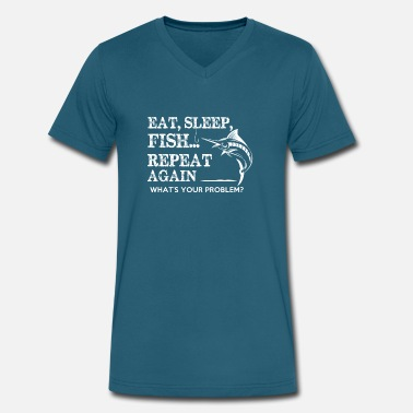 Eat Sleep Fish Fishing Eat Sleep Fish Gift - Men's V-Neck T-Shirt by Canvas