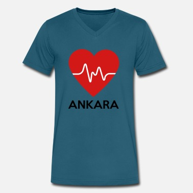 Ankara Heart Ankara - Men's V-Neck T-Shirt by Canvas