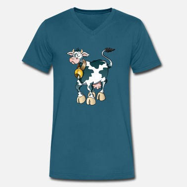 Cow Bell Cow animal wildlife pet bell - Men's V-Neck T-Shirt by Canvas