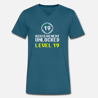 Level 19 achievement unlocked level 19 - Men's V-Neck T-Shirt by Canvas