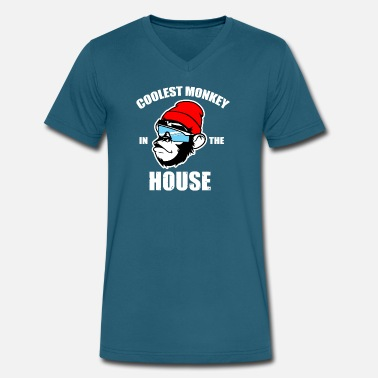 Monkey-house Coolest Monkey - Men's V-Neck T-Shirt by Canvas
