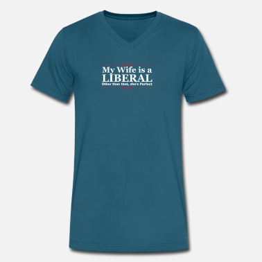 Left Wing Funny Left Wing Liberal Wife Political Couples Joke - Men's V-Neck T-Shirt by Canvas