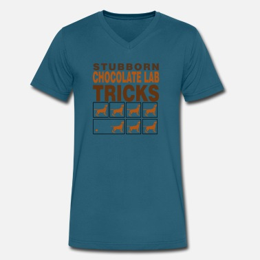 Chocolate Stubborn Chocolate Tricks - Men's V-Neck T-Shirt by Canvas