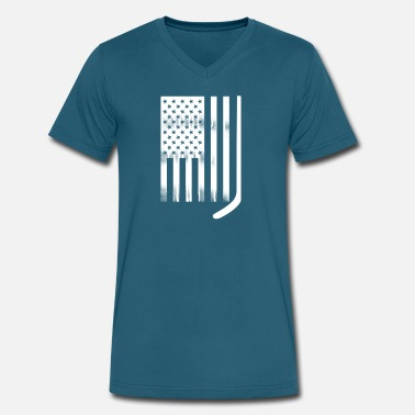 Flags Hockey Stick USA Flag White Hockey Stick - Men's V-Neck T-Shirt by Canvas