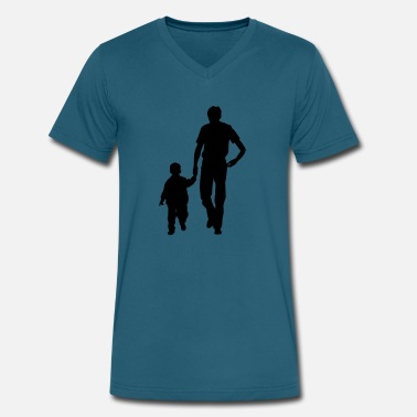 Baby Father And Son Walking father and son - Men's V-Neck T-Shirt by Canvas