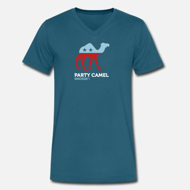 Anti Political Party Political Party Animals: Camel - Men's V-Neck T-Shirt by Canvas