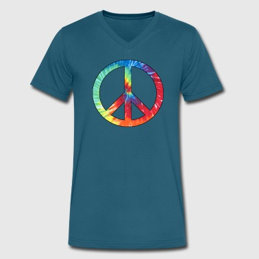 Tie Dye Peace  Sign - Men's V-Neck T-Shirt by Canvas