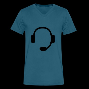 headset - Men's V-Neck T-Shirt by Canvas