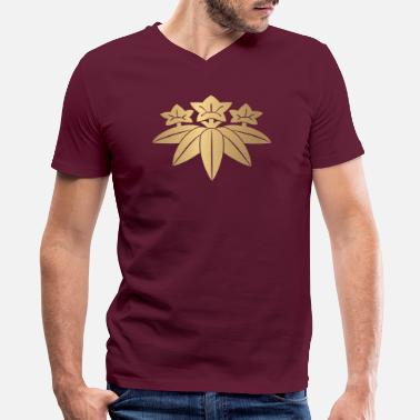 Clan Kamakura Minamoto Mon Japanese clan in faux gold - Men's V-Neck T-Shirt