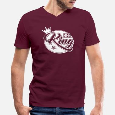 King Her King - His Queen -Couple Shirt-Gift-Valentines - Men's V-Neck T-Shirt