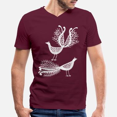 Bird Australian Lyre Birds Silhouette - Men's V-Neck T-Shirt