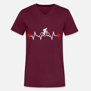 Cycling Heartbeat Cyclist & Heartbeat with Hearts, cycling - Men's V-Neck T-Shirt