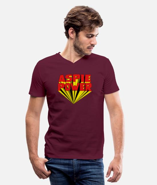 Aspergers T-Shirts - Aspie Power with a 60s 3D twist - Men's V-Neck T-Shirt maroon