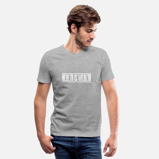 Wealth T-Shirts - health is wealth - Men's V-Neck T-Shirt heather gray