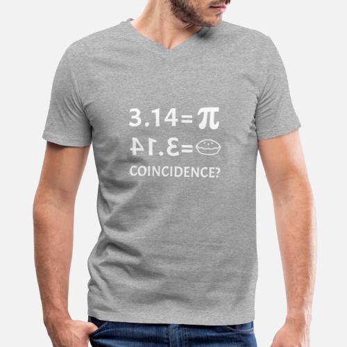 48bf7d6f Men's V-Neck T-ShirtFunny Pie Equals Pi Day Math Teacher Student Joke