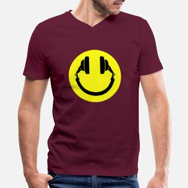 House Smiley headphones - Men's V-Neck T-Shirt